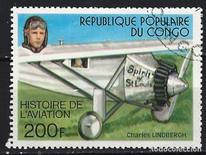 REP. DEL CONGO 1977 - HISTORIA DE LA AVIACIÓN, CHARLES LINDBERGH - SELLO USADO (Sellos - Extranjero - África - Congo)