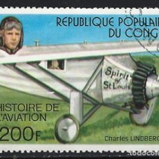 Sellos: REP. DEL CONGO 1977 - HISTORIA DE LA AVIACIÓN, CHARLES LINDBERGH - SELLO USADO. Lote 206316018