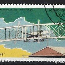 Sellos: REP. DEL CONGO 1993 - 90º ANIV. DEL PRIMER VUELO DE LOS HNOS. WRHIGHT - SELLO USADO. Lote 206750097