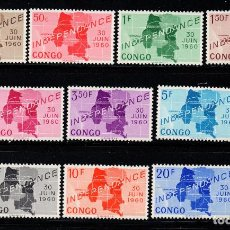 Sellos: CONGO KINSHASA 372/81** - AÑO 1960 - INDEPENDENCIA - MAPAS. Lote 209135336