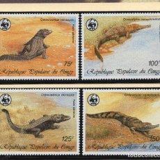 Sellos: COMGO REPUBLICA SERIE MNH 1987 MICHEL 1063 A 1066 WWF. Lote 215465597