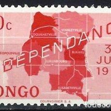 Sellos: REP. DEM. DEL CONGO 1960 - INDEPENDENCIA, MAPA - MNH**. Lote 215657072