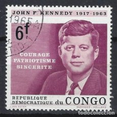Sellos: REP. DEM. DEL CONGO 1964 - HOMENAJE A JOHN FITZGERALD KENNEDY - USADO. Lote 215658228