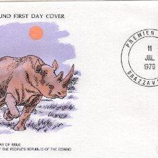 Sellos: CONGO REPUBLICA, CARTA PRIMER DIA 1978 MICHEL 632 ,WWF. Lote 215732775