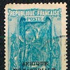 Sellos: CONGO MEDIO COLONIA FRANCESA IVERT Nº 107, PAISAJE, USADO. Lote 223269598
