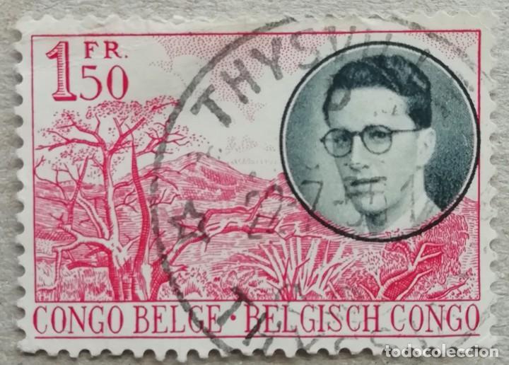 1955. CONGO-BELGA. 329. RETRATO DEL REY BALDUINO I DE BÉLGICA. MONTAÑAS. USADO. (Sellos - Extranjero - África - Congo)