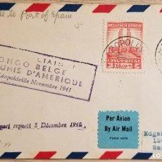 Sellos: O) 1941 CONGO BELGA, REY ALBERT MEMORIAL LEOPOLDVILLE, AL PUERTO DE ESPAÑA, F.. Lote 253935685