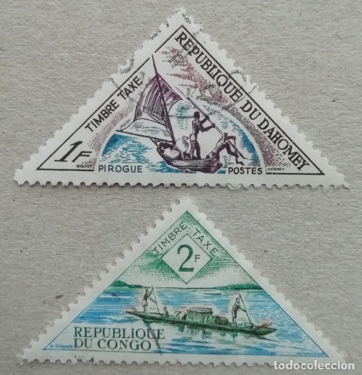 1961. CONGO. TAXA 38, 39. PIRAGUAS LOCALES. USADO. (Sellos - Extranjero - África - Congo)