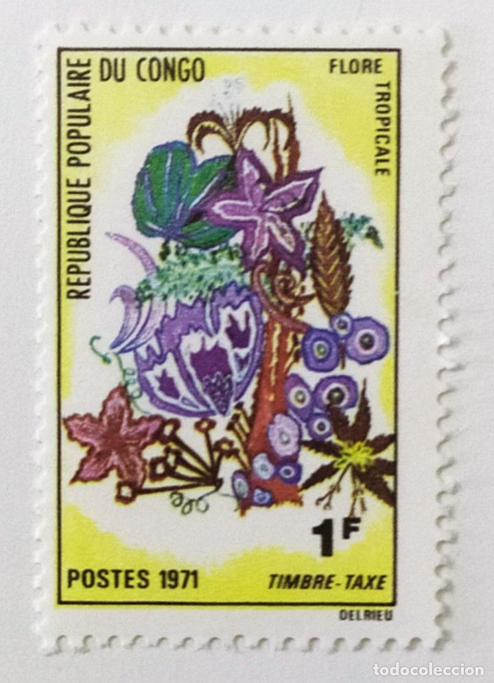 SELLO DE CONGO 1 F - 1971 - FLORA TROPICAL - NUEVO SIN SEÑAL DE FIJASELLOS (Sellos - Extranjero - África - Congo)