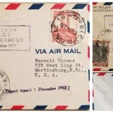 Sellos: O) 1941 CONGO BELGA, COLONIA, RÍO SUZA, CASCADA, REY ALBERT MEMORIAL LEOPOLDVILLE, PRIMER VUELO LEOP. Lote 254071340