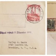 Sellos: O) 1941 CONGO BELGA, COLONIA, RÍO SUZA, CASCADA, REY ALBERT MEMORIAL LEOPOLDVILLE, PRIMER VUELO LEOP. Lote 254080730