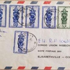 Sellos: O) 1959 CONGO BELGA, FIGURAS TALLADAS DE LA TRIBU BALUBA, TSHIMANYI, UNIÓN DEL CONGO DE S.D.A. CUBIE. Lote 254103870