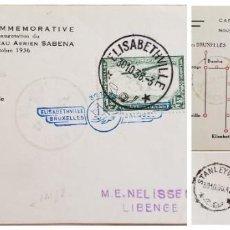 Sellos: O) 1936 CONGO BELGA, RUTA, RED AÉREA DE NUEVA SABENA ELISABETHVILLE BRUSELAS, BRUSELAS, FOKKER F. VI. Lote 254111805