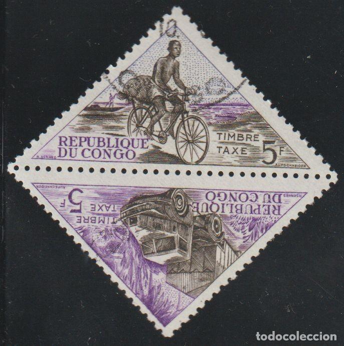 CONGO 1961 SCOTT J37A SELLOS * TRANSPORTE BICICLETAS CAMIONES MICHEL P7/8 YVERT T40/1 TRIANGULARES (Sellos - Extranjero - África - Congo)