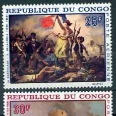 Selos: CONGO 1968 AÉREO IVERT 71/2 *** ARTE - PINTURA - DELACROIX Y ROBERT - LA BARRICADA Y LA BASTILLA. Lote 290080148