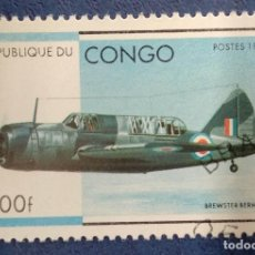 Sellos: CONGO 1996. BREWSTER SB2A BUCCANEER. YT:CG 1026R. Lote 291207233