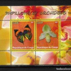 Sellos: CONGO 2007, HOJA BLOQUE MARIPOSA Y FLORES. MNH.. Lote 294163883