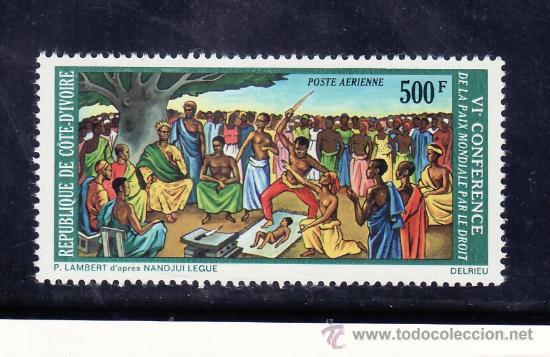 COSTA DE MARFIL A 61 SIN CHARNELA, 6º CONFERENCIA DE LA PAZ MUNDIAL A TRAVES DE LA LEY (Sellos - Extranjero - África - Costa de Marfil)