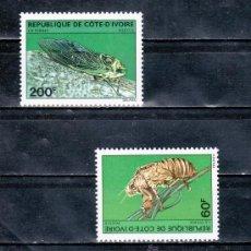 Sellos: COSTA DE MARFIL 553/4 SIN CHARNELA, FAUNA, CIGARRA, . Lote 25583368