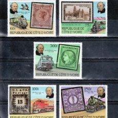 Sellos: COSTA DE MARFIL 504/8 SIN CHARNELA, FF.CC., LOCOMOTORA, CENTENARIO MUERTE DE SIR ROWLAND HILL. Lote 25583554