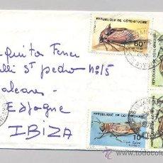 Sellos: COSTA DE MARFIL, SOBRE CIRCULADO. Lote 34516892