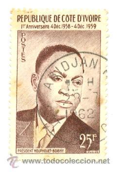 IVOIRE-180U. SELLO USDO COSTA DE MARFIL. YVERT Nº 180. PRESIDENTE (Sellos - Extranjero - África - Costa de Marfil)