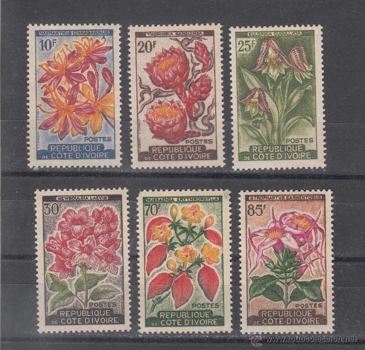COSTA DE MARFIL 193/8 SIN CHARNELA, FLORES, (Sellos - Extranjero - África - Costa de Marfil)