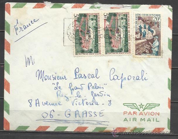 Q196-CARTA DE COLONIA DE FRANCIA COTE D´IVOIRE A GRASSE AÑO 1969.AFRICA. *************************** (Sellos - Extranjero - África - Costa de Marfil)