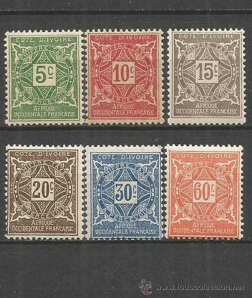 COSTA DE MARFIL COLONIA FRANCESA 1915 TAXE CONJUNTO DE SELLOS NUEVOS CON FIJASELLOS (Sellos - Extranjero - África - Costa de Marfil)