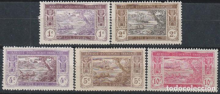 COSTA DE MARFIL IVERT Nº 41/45, LAGO EBRIÉ, NUEVO CON SEÑAL DE CHARNELA (Sellos - Extranjero - África - Costa de Marfil)