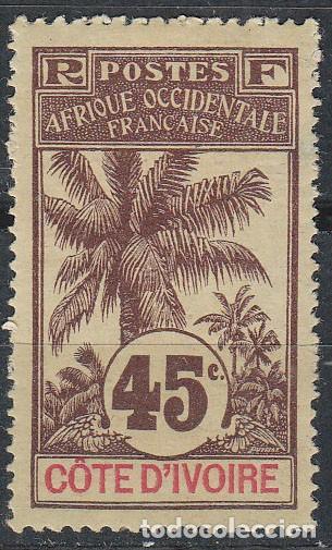 COSTA DE MARFIL IVERT Nº 30, PALMERA, NUEVO CON SEÑAL DE CHARNELA (Sellos - Extranjero - África - Costa de Marfil)