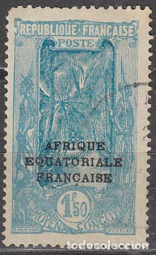 CONGO COLONIA FRANCESA IVERT Nº 107, AVENIDA DE LOS COCOTEROS EN LIBREVILLE, USADO (Sellos - Extranjero - África - Costa de Marfil)
