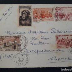Sellos: CARTA POR AVION A.O. FRANCESA DE NIGER NIAMEY A FONTLAUN 1956. Lote 106055011