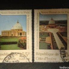 Selos: COSTA DE MARFIL. YVERT 845/6. SERIE COMPLETA USADA. BASÍLICA DE NUESTRA SEÑORA DE LA PAZ. Lote 112838619