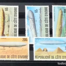 Sellos: COSTA DE MARFIL- DIRIGIBLES, COMPLETA. Lote 121221923