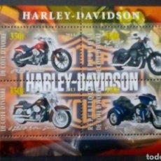 Sellos: MOTOCICLETAS HARLEY DAVIDSON HOJA BLOQUE DE SELLOS NUEVOS DE COSTA DE MARFIL. Lote 175535242
