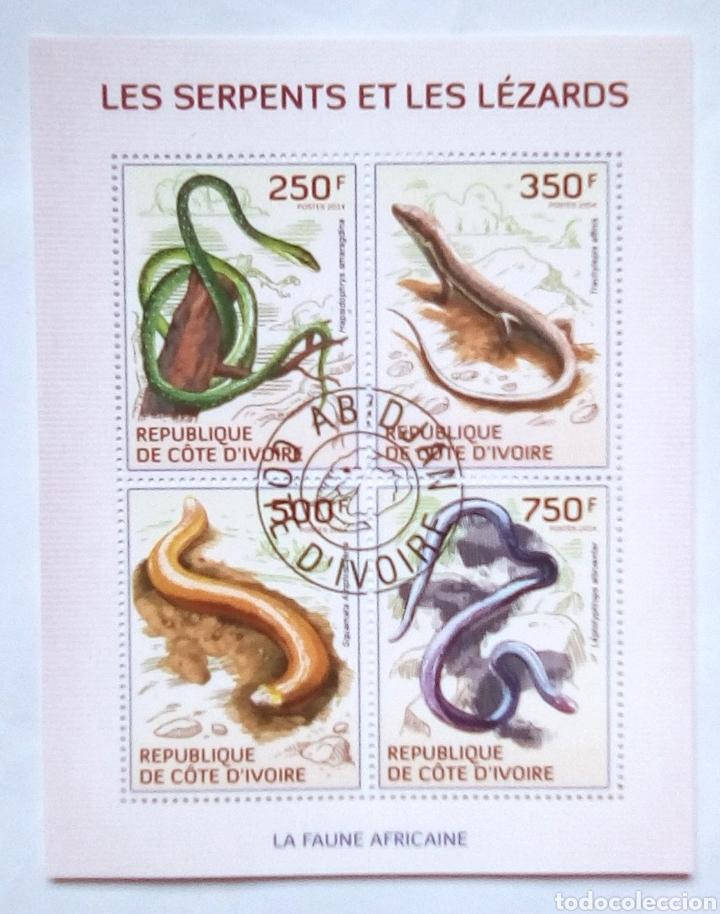 REPTILES HOJA BLOQUE DE SELLOS USADOS RECIENTES DE COSTA DE MARFIL (Sellos - Extranjero - África - Costa de Marfil)