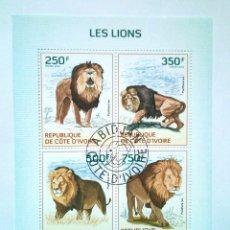 Sellos: COSTA DE MARFIL LEONES HOJA BLOQUE DE SELLOS USADOS. Lote 178861043
