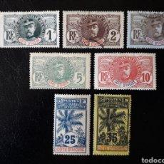 Sellos: COSTA DE MARFIL. YVERT 21/5, 27 Y 29. SELLOS SUELTOS MAYORIA USADOS. GENERAL FAIDHERBE Y PALMERA.. Lote 180762816