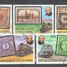 Sellos: COSTA DE MARFIL Nº 504/508º CENTENARIO DE SIR ROWLAND HILL. SERIE COMPLETA. Lote 194882222