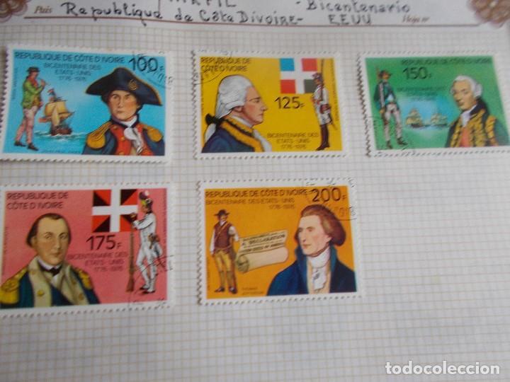 COSTA DE MARFIL 5 SELLOS BICENTENARIO DE EE.UU (Sellos - Extranjero - África - Costa de Marfil)