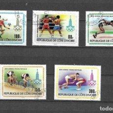 Sellos: COSTA DE MARFIL,1979,AÑO PREOLÍMPICO,YVERT 511-515,USADOS. Lote 197925800