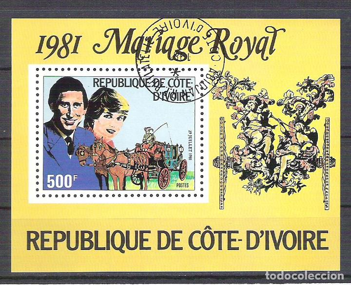 IVORY COAST 1981 LADY DI AND CHARLES, PERF. SHEET, USED O.032 (Sellos - Extranjero - África - Costa de Marfil)
