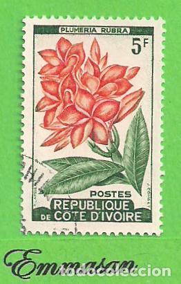 COSTA DE MARFIL - MICHEL 223 - YVERT 192A - FLORA - FRANCHIPÁN. (1962). NUEVO MATASELLADO. (Sellos - Extranjero - África - Costa de Marfil)
