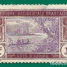 Timbres: COSTA DE MARFIL. AFR. OCC. FRANCESA. 1913. PIRAGUA EN EL RIO. Lote 237619120