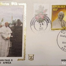 Sellos: O) 2005 IVORY COAST, POPE JOHN PAUL II AND PRES. HOUPHOUET BOIGNY, GOLDEN SERIE SILK, SPECIAL EMISIO. Lote 247631960