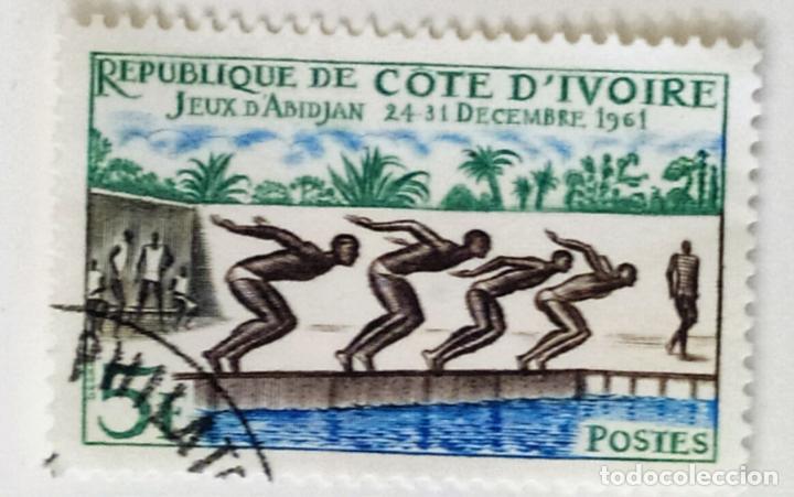 SELLO DE COSTA DE MARFIL 5 F - 1961 - JUEGOS DE ABIDJAN - USADO SIN SEÑAL DE FIJASELLOS (Sellos - Extranjero - África - Costa de Marfil)