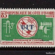 Sellos: COSTA DE MARFIL 235** - AÑO 1965 - CENTENARIO DE LA UNION INTERNACIONAL DE TELECOMUNICACIONES. Lote 265196589