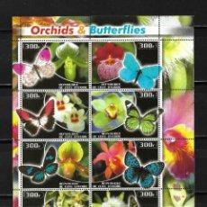 Sellos: COSTA DE MARFIL 2003, HOJA BLOQUE ORQUIDEAS Y MARIPOSAS . MNH.. Lote 294566668
