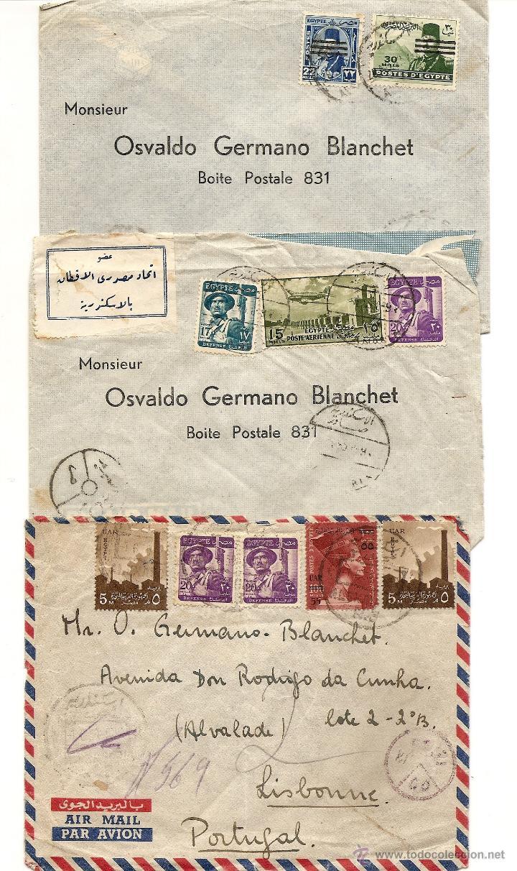 LOTE 3 CARTAS CIRCULADAS DE EGIPTO A PORTUGAL AÑOS 50 MUY BONITAS - VER FOTOGRAFÍAS (Sellos - Extranjero - África - Egipto)